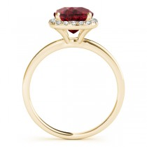 Cushion Ruby & Diamond Halo Engagement Ring 18k Yellow Gold (1.00ct)