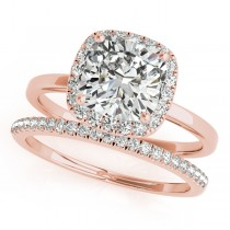 Cushion Diamond Halo Bridal Set 14k Rose Gold (1.14ct)