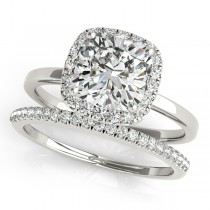 Cushion Diamond Halo Bridal Set 14k White Gold (1.14ct)