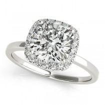 Cushion Diamond Halo Bridal Set 14k White Gold (1.14ct)