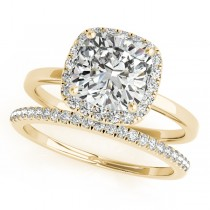 Cushion Diamond Halo Bridal Set 18k Yellow Gold (1.14ct)