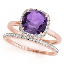Cushion Amethyst & Diamond Halo Bridal Set 14k Rose Gold (1.14ct)