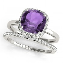 Cushion Amethyst & Diamond Halo Bridal Set 14k White Gold (1.14ct)