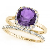 Cushion Amethyst & Diamond Halo Bridal Set 14k Yellow Gold (1.14ct)