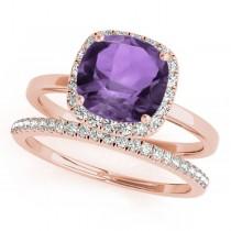 Cushion Amethyst & Diamond Halo Bridal Set 18k Rose Gold (1.14ct)