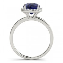 Cushion Blue Sapphire & Diamond Halo Bridal Set 14k White Gold (1.14ct)