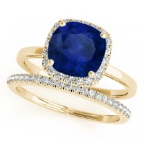 Cushion Blue Sapphire & Diamond Halo Bridal Set 14k Yellow Gold (1.14ct)