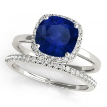 Cushion Blue Sapphire & Diamond Halo Bridal Set Platinum (1.14ct)