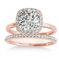 Cushion Diamond Halo Bridal Set 18k Rose Gold (0.29ct)