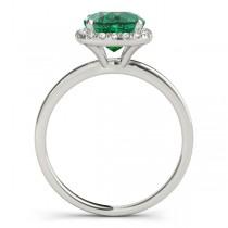 Cushion Emerald & Diamond Halo Bridal Set 14k White Gold (1.14ct)