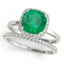 Cushion Emerald & Diamond Halo Bridal Set 18k White Gold (1.14ct)