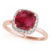 Cushion Ruby & Diamond Halo Bridal Set 14k Rose Gold (1.14ct)