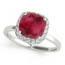 Cushion Ruby & Diamond Halo Bridal Set 14k White Gold (1.14ct)
