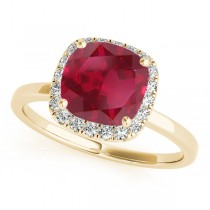 Cushion Ruby & Diamond Halo Bridal Set 14k Yellow Gold (1.14ct)