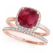 Cushion Ruby & Diamond Halo Bridal Set 18k Rose Gold (1.14ct)