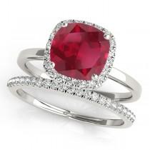 Cushion Ruby & Diamond Halo Bridal Set 18k White Gold (1.14ct)