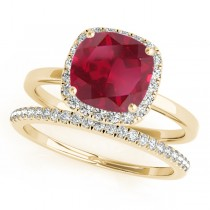 Cushion Ruby & Diamond Halo Bridal Set 18k Yellow Gold (1.14ct)