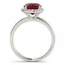 Cushion Ruby & Diamond Halo Bridal Set Palladium (1.14ct)