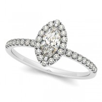 Marquise Diamond Halo Engagement Ring w/ Accents 14k W. Gold 0.50ct
