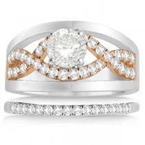 Split Shank & Infinity Engagement Ring Bridal Set 18k Two Tone Gold (0.25ct)