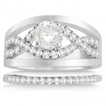 Split Shank & Infinity Engagement Ring Bridal Set Palladium (0.25ct)