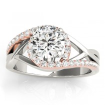 Diamond Halo Twisted Engagement Ring Setting 14k Rose Gold 0.25ct