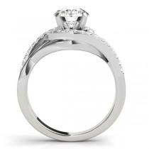 Diamond Halo Twisted Engagement Ring Setting 14k White Gold 0.25ct