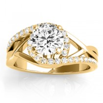 Diamond Halo Twisted Engagement Ring Setting 14k Yellow Gold 0.25ct