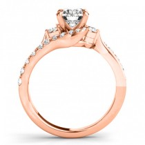 Diamond Bypass Engagement Ring Setting in 14k Rose Gold (0.50ct)