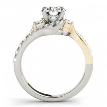 Diamond Bypass Engagement Ring in 14k Two Tone Yellow Gold (0.50ct)