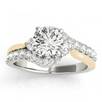 Bypass Engagement Ring & Curved Band Bridal Set 14k Y. Gold 0.67ct