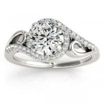 Swirl Shank Bypass Halo Diamond Engagement Ring 14k White Gold 0.20ct
