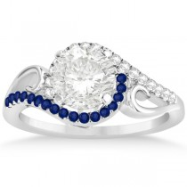 Swirl Bypass Diamond Blue Sapphire Engagement Ring 18k White Gold 0.20ct