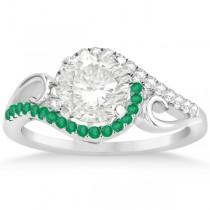 Swirl Bypass Halo Diamond Emerald Engagement Ring 14k White Gold 0.20ct