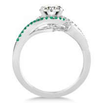 Swirl Bypass Halo Diamond Emerald Engagement Ring 14k White Gold 0.20ct|escape