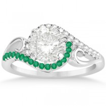 Swirl Bypass Halo Diamond Emerald Engagement Ring 18k White Gold 0.20ct