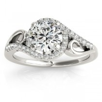 Swirl Shank Bypass Halo Diamond Engagement Ring Palladium (0.20ct)