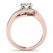 Diamond Swirl Engagement Ring & Band Bridal Set 14k Rose Gold 0.36ct