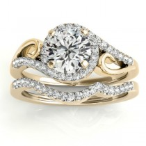 Diamond Swirl Engagement Ring & Band Bridal Set 14k Yellow Gold 0.36ct