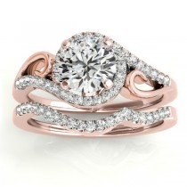 Diamond Swirl Engagement Ring & Band Bridal Set 18k Rose Gold (0.36ct)