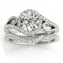 Diamond Swirl Engagement Ring & Band Bridal Set 18k White Gold (0.36ct)