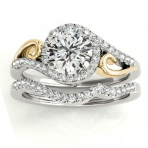 Diamond Swirl Engagement Ring Bridal Set 18k Two-Tone Gold (0.36ct)