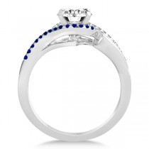 Swirl Bypass Diamond & Blue Sapphire Bridal Set 14k White Gold 0.36ct