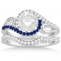 Swirl Bypass Diamond & Blue Sapphire Bridal Set 18k White Gold (0.36ct)