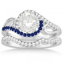 Swirl Bypass Diamond & Blue Sapphire Bridal Set Platinum (0.36ct)