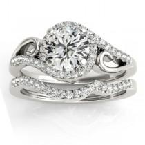 Diamond Swirl Engagement Ring & Band Bridal Set Palladium (0.36ct)
