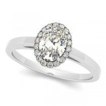 Oval Shaped Diamond Halo Engagement Ring in 14k White Gold (0.63ct)