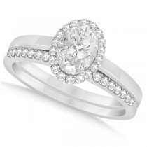 Oval Diamond Halo Engagement Bridal Ring Set 14k White Gold 1.25ct