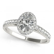 Diamond Halo Oval Shaped Engagement Ring 14k White Gold (1.00ct)