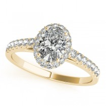 Diamond Halo Oval Shape Engagement Ring 14k Yellow Gold (1.00ct)